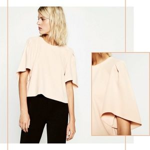ZARA Nude Cropped Top Blouse Size XS